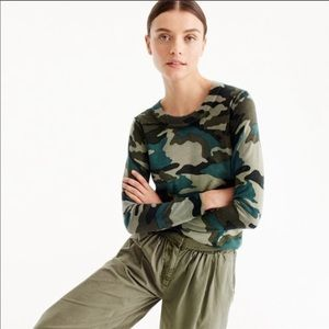 J.CREW Tippi Crewneck Sweater in Camouflage M
